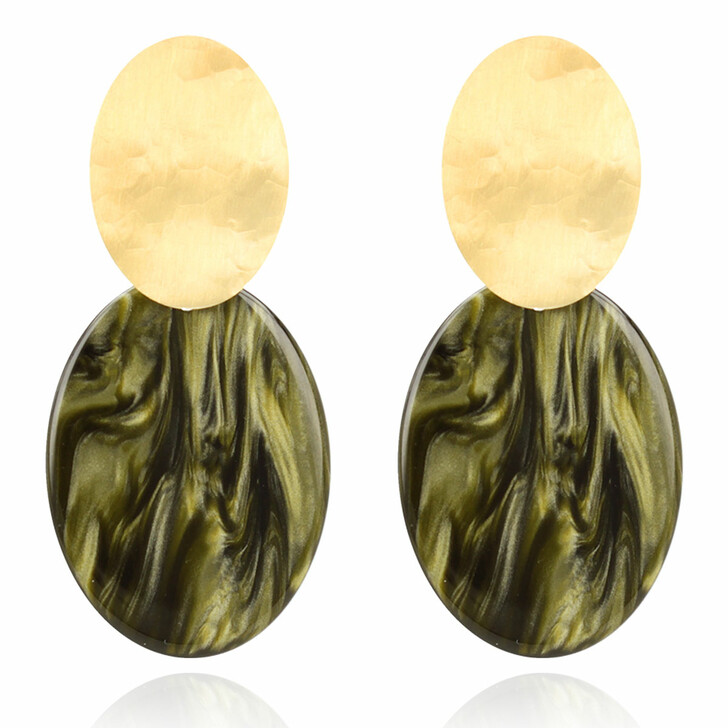 earrings, LOTT.gioielli, Earring Resin Closed Oval S New Green New Green and Gold