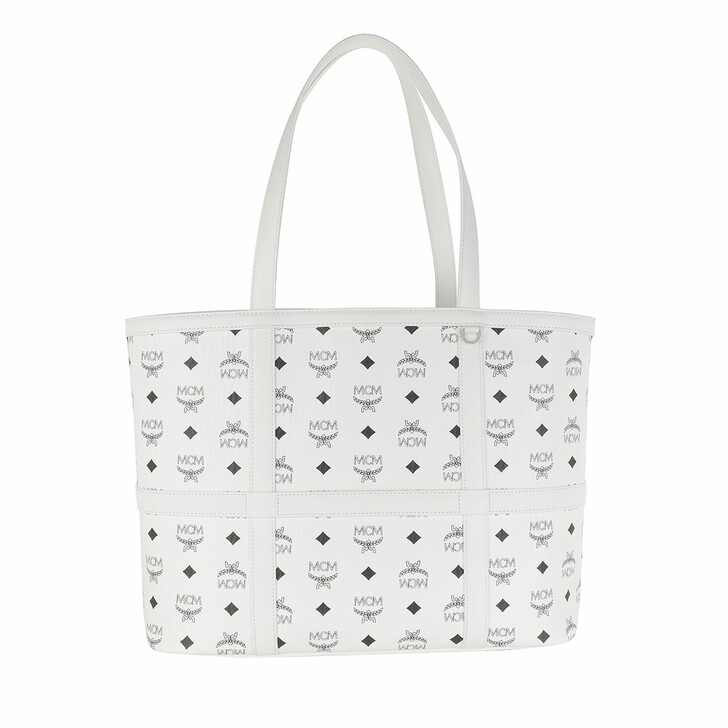 Handtasche, MCM, Delmy Visetos Shopper Medium  White