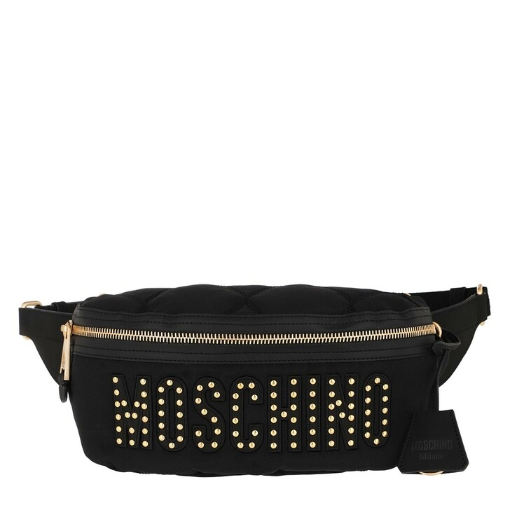 bags, Moschino, Quilted Belt Bag Black Fantasy Print