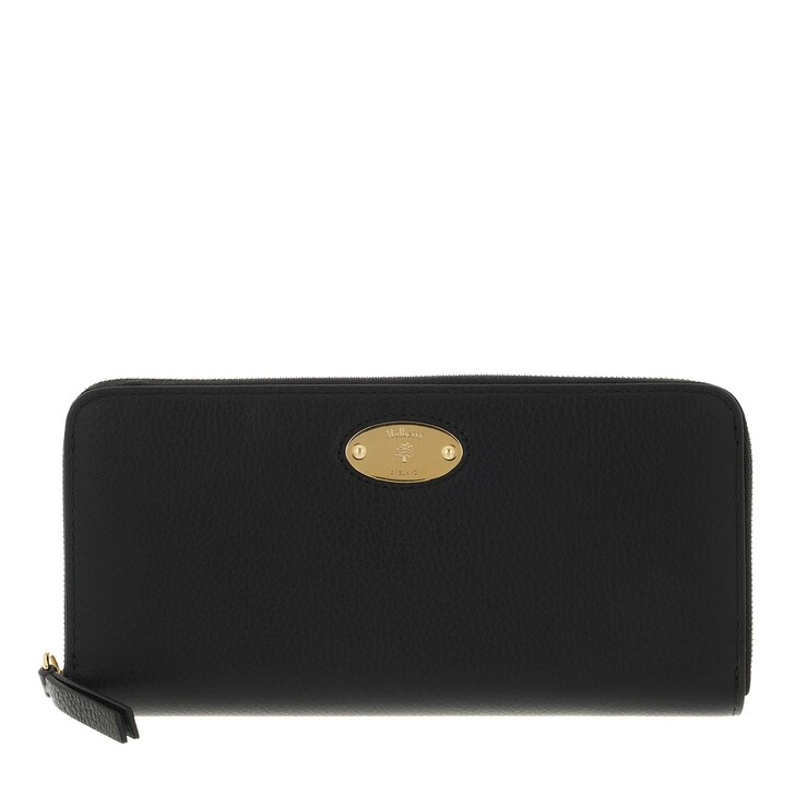 wallets, Mulberry, Plaque 8 Credit Card Zip Purse Leather Black