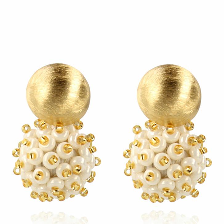 earrings, LOTT.gioielli, Earring Globe Small Double Stones Pearl and Gold