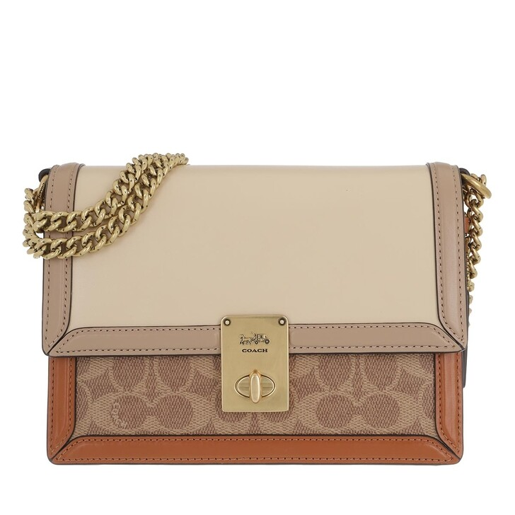 Handtasche, Coach, Hutton Colorblock Crossbody Bag Canvas/Leather Tan Ivory/Multi