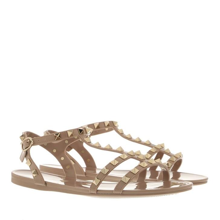 shoes, Valentino Garavani, Rockstud Flat Sandals Rubber Poudre