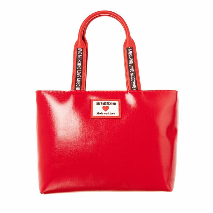 Handtasche, Love Moschino, Borsa Canvas+Pu  Rosso