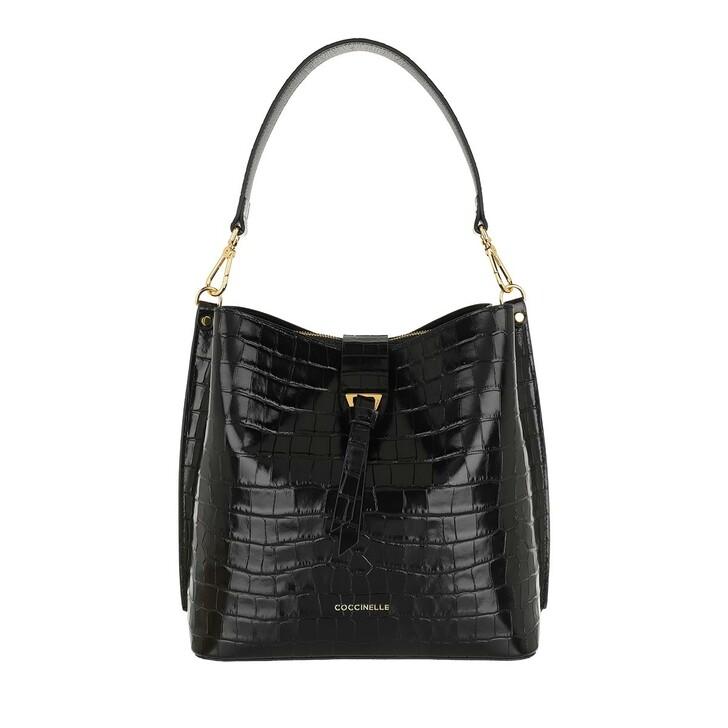 Handtasche, Coccinelle, Alba Croco Shiny Soft Bucket Bag Noir