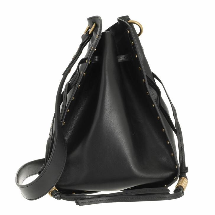 bags, Isabel Marant, Taj Drawstring Bucket Bag Suede Black
