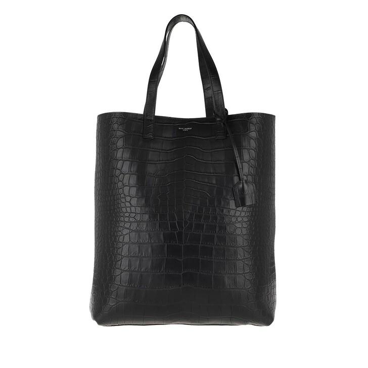 bags, Saint Laurent, Croco Effect Shopper Nero
