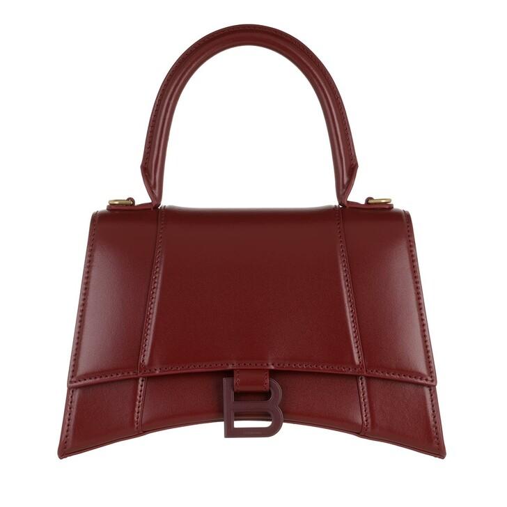 Handtasche, Balenciaga, Small Hourglass Top Handle Shoulder Bag Dark Red