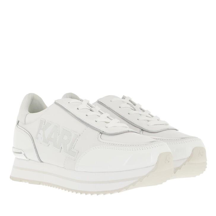 shoes, Karl Lagerfeld, VELOCITA II Karl Badge Logo Lthr White Leather & Sde/Silver