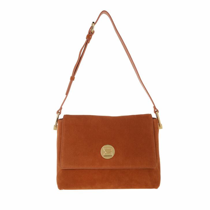 bags, Coccinelle, Liya Suede Handbag Leather Chestnut/Chestnut