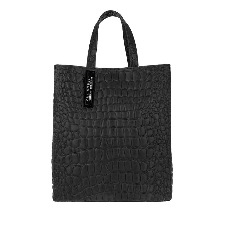 Handtasche, Liebeskind Berlin, Paperbag Tote Medium Croco Black