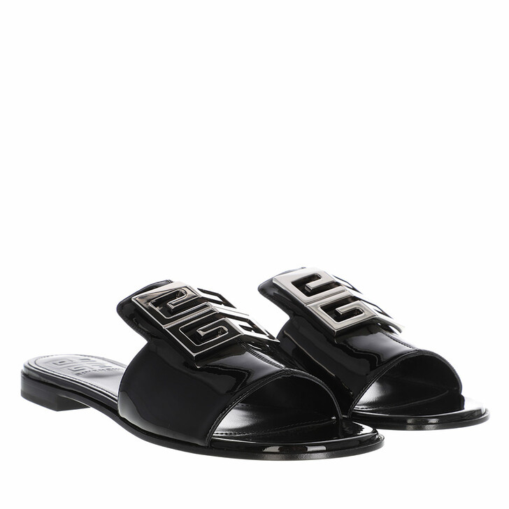 shoes, Givenchy, 4G Flat Sandals Leather Black