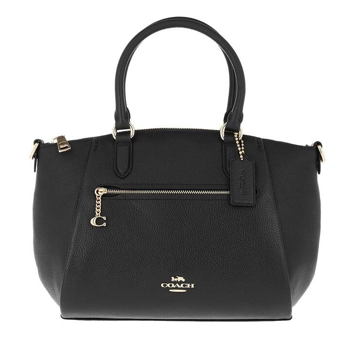 bags, Coach, Polished Pebble Leather Elise Satchel Gd/Black