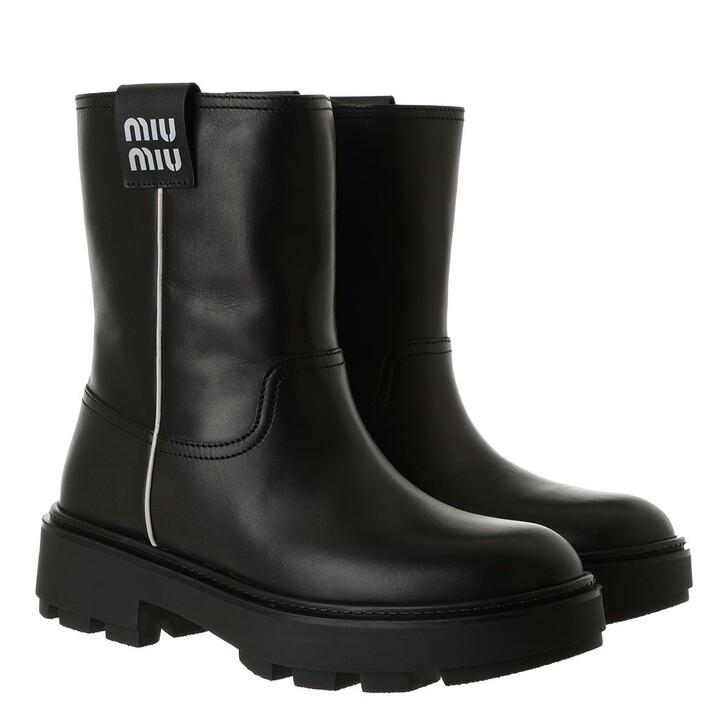 shoes, Miu Miu, Classic Biker Booties Leather Black