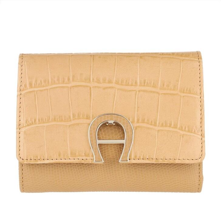 wallets, AIGNER, Logo Wallet Genoveva XS Vacchetta Brown