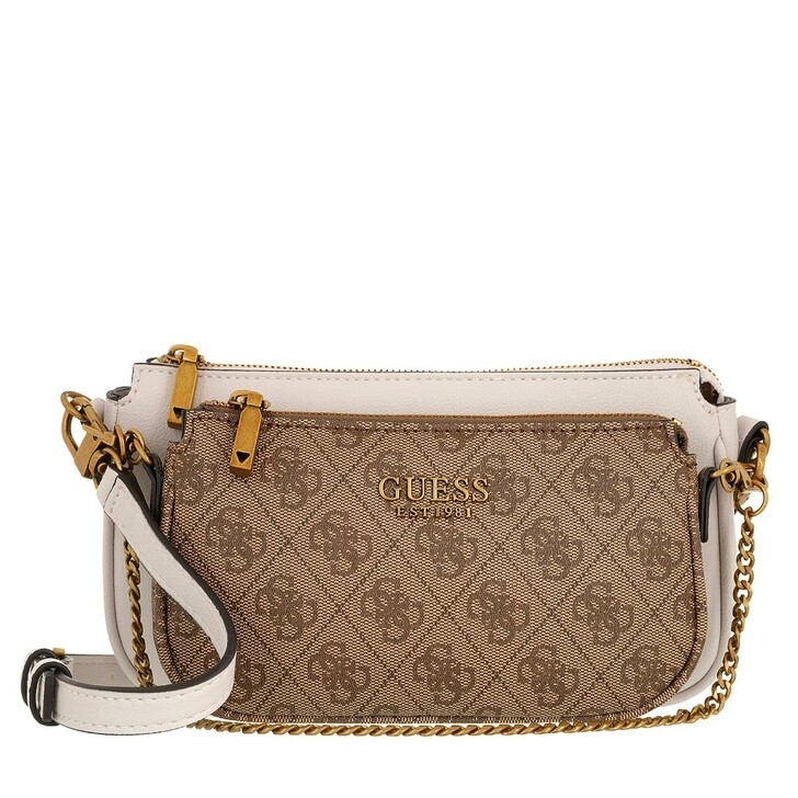 bags, Guess, Mika Double Pouch Crossbody Brown
