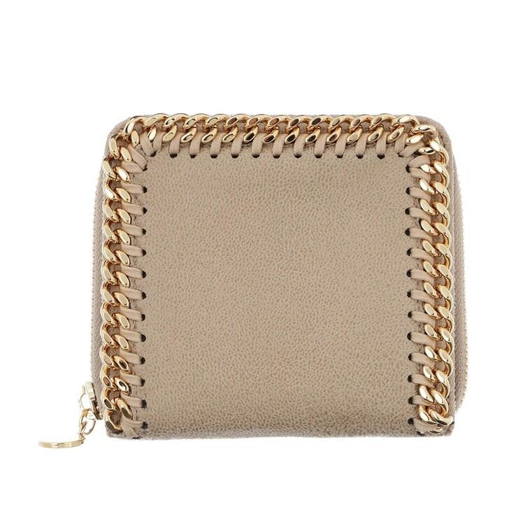 Geldbörse, Stella McCartney, Falabella Shaggy Small Zip Wallet Leather Butter Cream