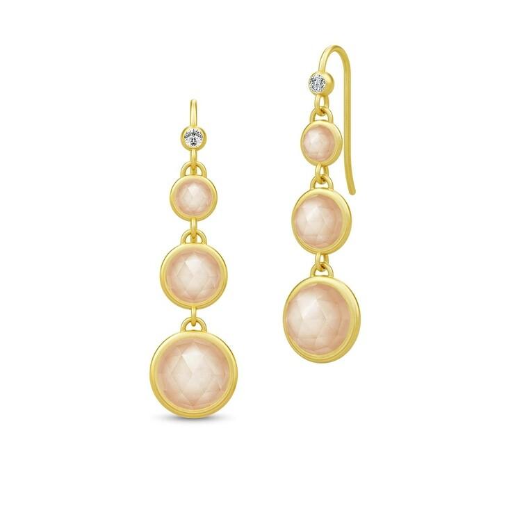 earrings, Julie Sandlau, Moon Chandelier Earrings Gold/Peach