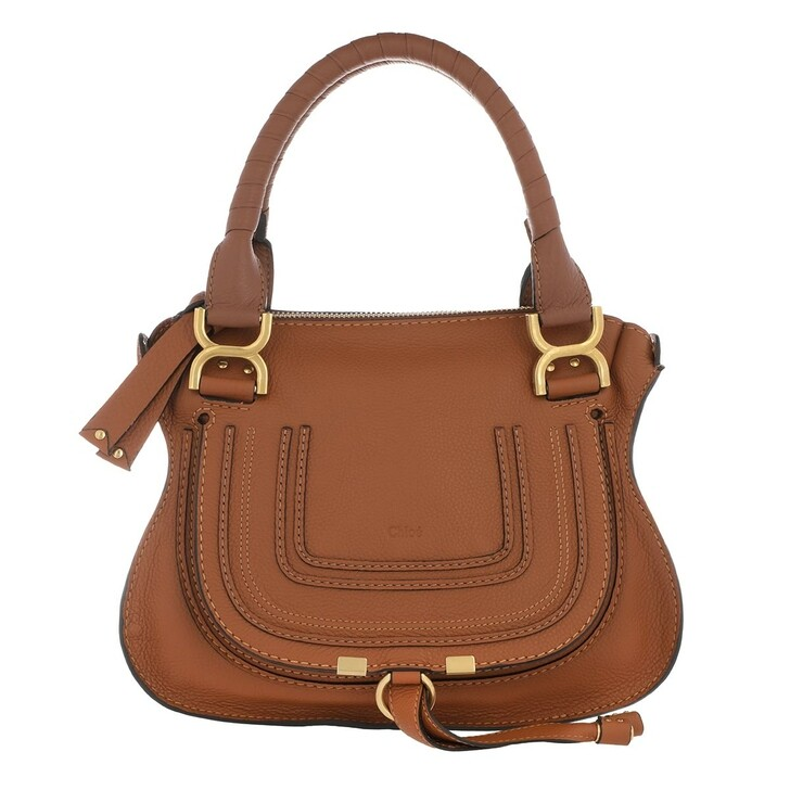 Handtasche, Chloé, Marcie Crossbody Bag Grained Calfskin Tan