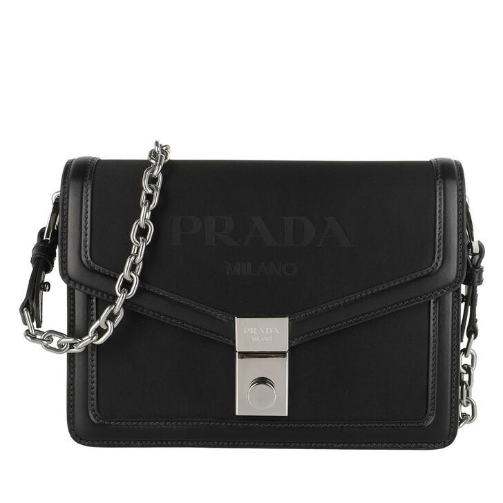 Handtasche, Prada, Envelope Crossbody Bag Leather Black