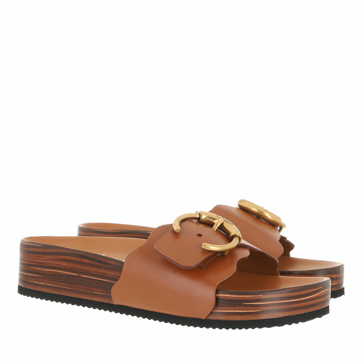 shoes, Chloé, Ingrid Flat Footbeds Sandals Leather Luminous Ochre