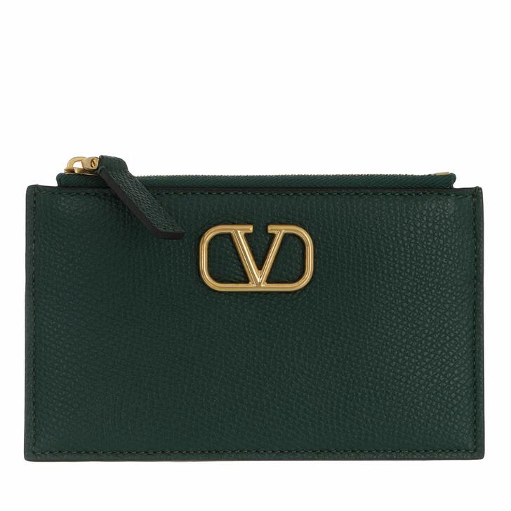 wallets, Valentino Garavani, V Logo Signature Card Holder Leather Green