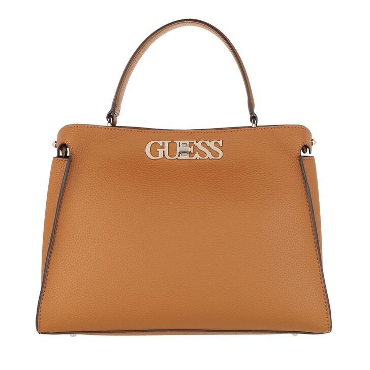 bags, Guess, Uptown Chic Large Satchel Bag Cognac