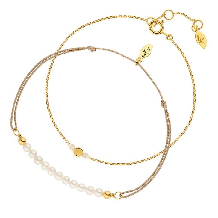 Schmuckset, Leaf, Set Bracelets Pearls Yellowgold