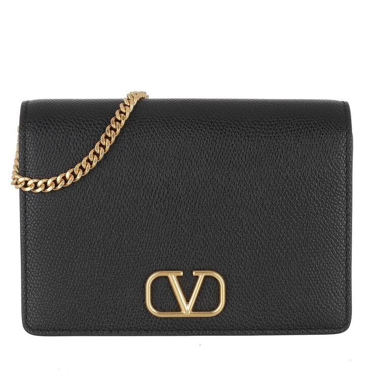 Handtasche, Valentino Garavani, V-Logo Signature Crossbody Bag Leather Black