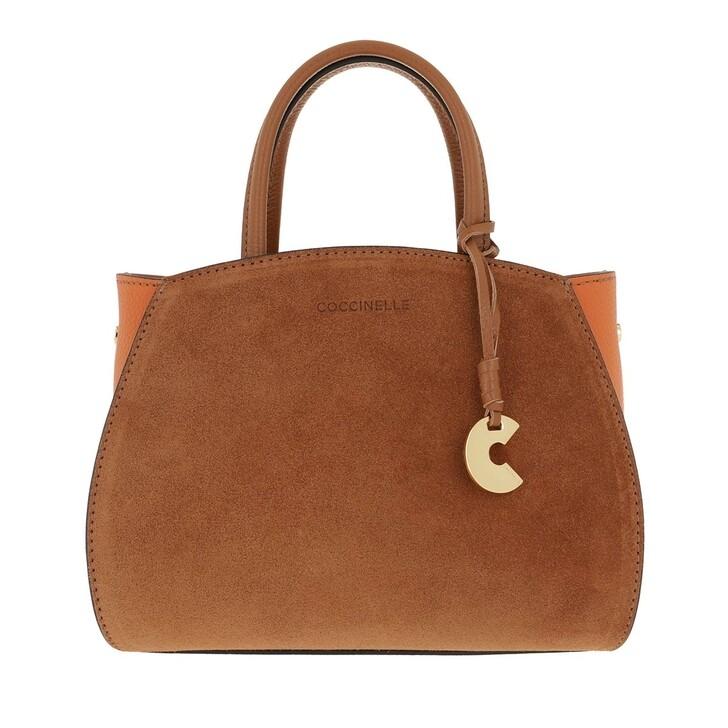 Handtasche, Coccinelle, Concrete Suede Bicolor Caramel Ginger