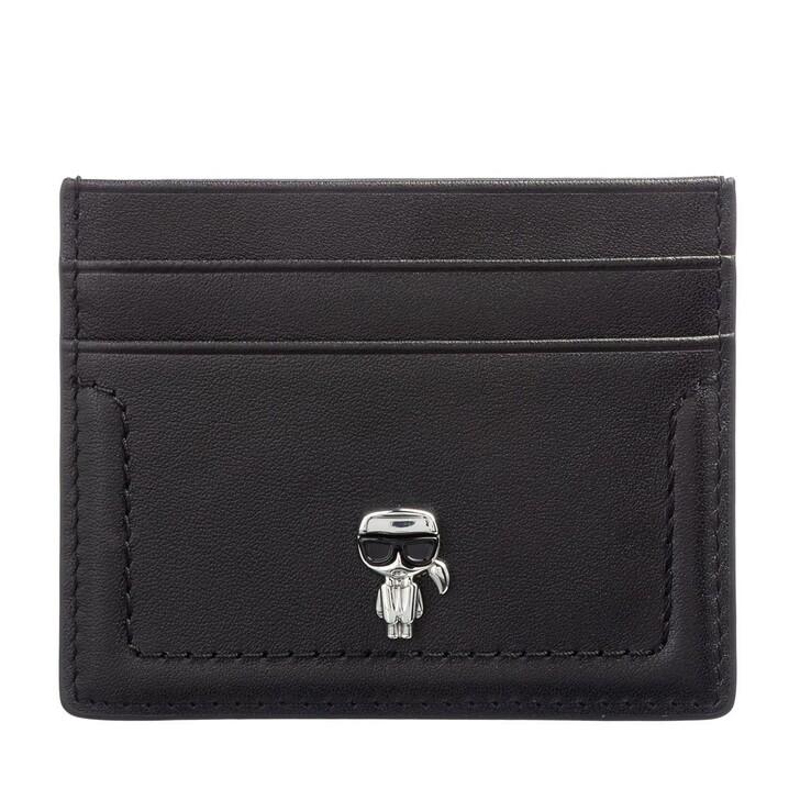 wallets, Karl Lagerfeld, K/Ikonik 3d Pin Card Holder Black