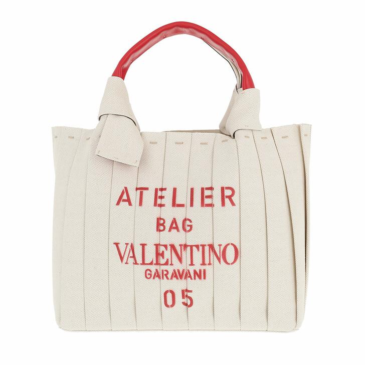 bags, Valentino Garavani, Small 05 Plisse Edition Atelier Tote Bag Natural
