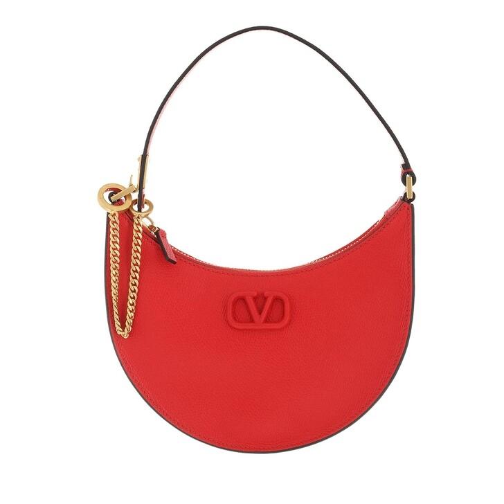 bags, Valentino Garavani, Mini V-Logo Signature Hobo Bag Leather Red