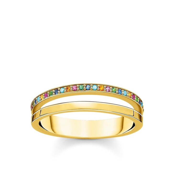 Ring, Thomas Sabo, Ring Colored Stones Bicolor