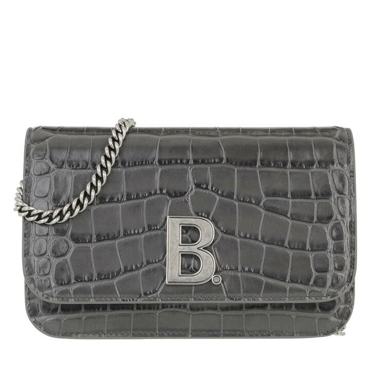 Handtasche, Balenciaga, Wallet On Chain Shiny Embossed Croc Grey