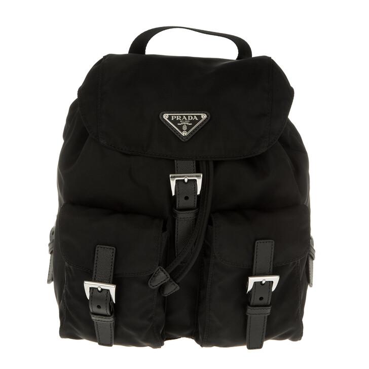 Reisetasche, Prada, Vela Backpack Tessuto Nero