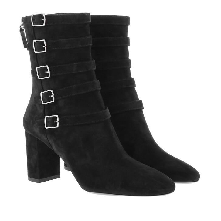 shoes, Saint Laurent, Lou Buckle Ankle Boots Suede Black