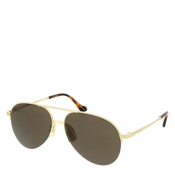 Sonnenbrille, Gucci, GG0742S-002 58 Sunglasses Gold-Gold-Brown