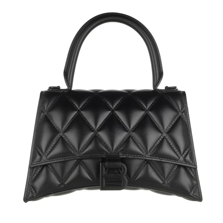 Handtasche, Balenciaga, Hourglass Small Handle Bag Quilted Leather Black