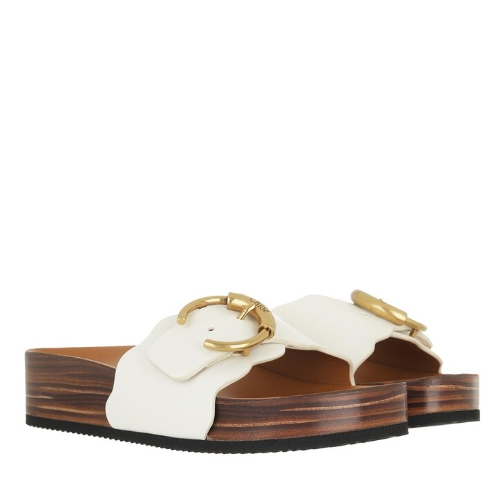 shoes, Chloé, Ingrid Flat Footbeds Sandals Leather Natural White