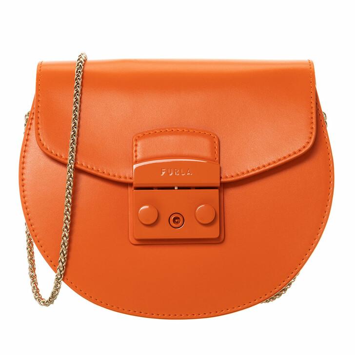 Handtasche, Furla, Metropolis Mini Crossbody Round Orange