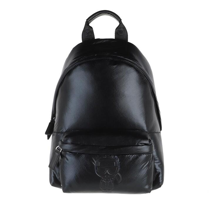 bags, Karl Lagerfeld, K/Ikonik Nylon Md Bp Metallic Metallic Black