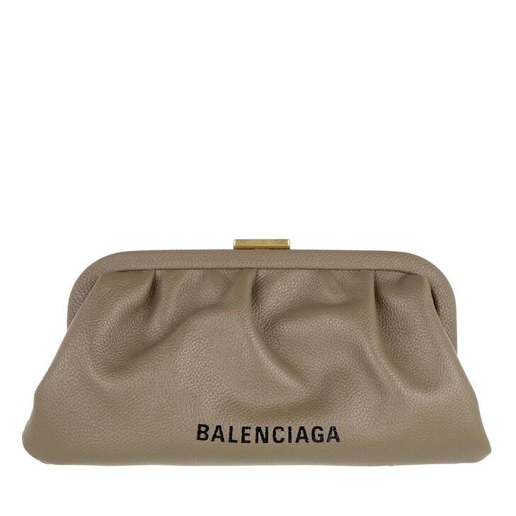 bags, Balenciaga, Cloud XS Clutch Grained Mink Grey
