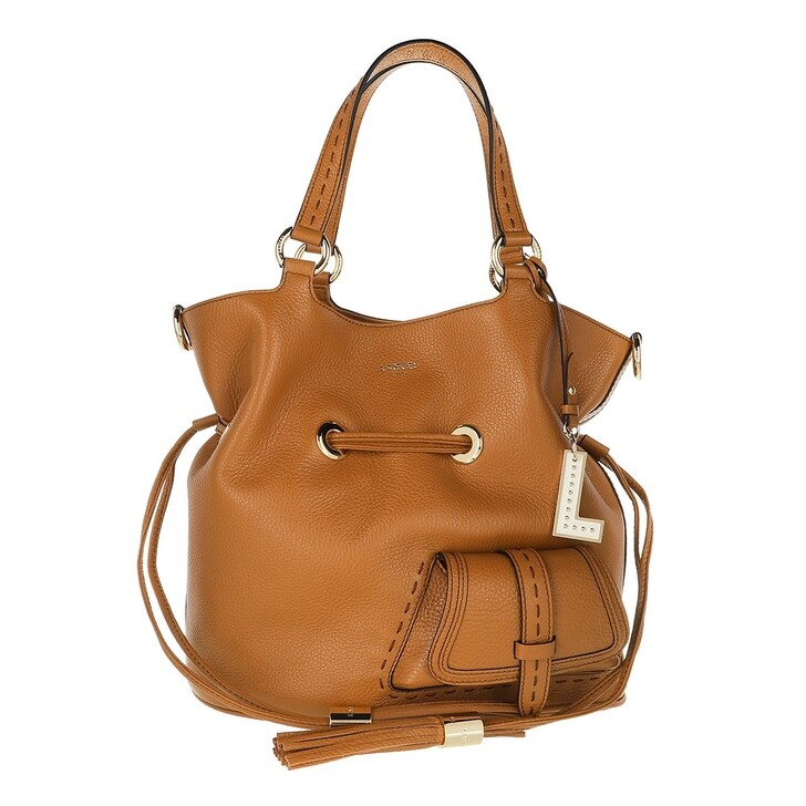 Handtasche, Lancel, Flirt Grained Leather Bucket Bag Medium Camel