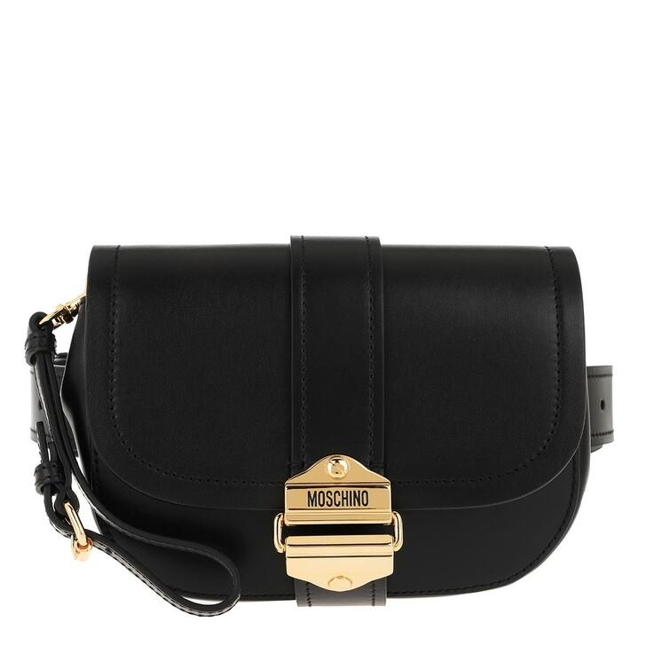 Handtasche, Moschino, Leather Belt Bag Black Fantasy Print