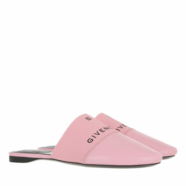 shoes, Givenchy, Signature Logo Flat Mules Leather Baby Pink