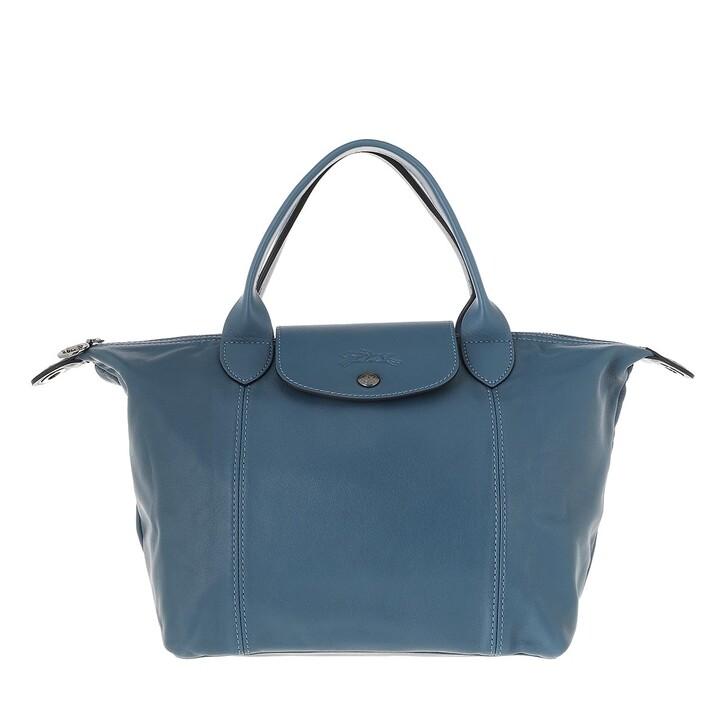 bags, Longchamp, Le Pliage Cuir Handbag  Pilot Blue
