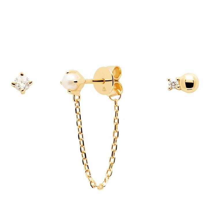 earrings, PDPAOLA, Earrings Charlie Yellow Gold