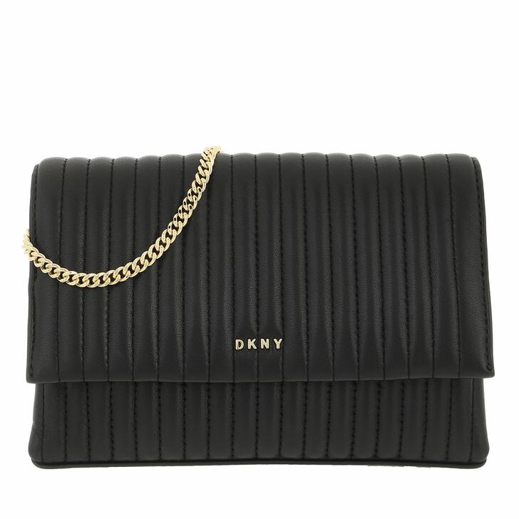 bags, DKNY, Amelia Flap Crossbody Black Gold