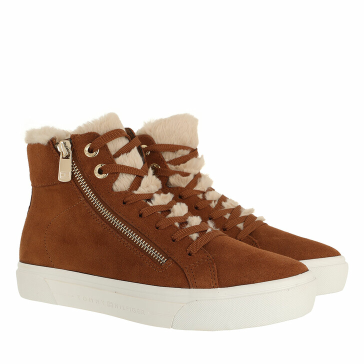 shoes, Tommy Hilfiger, Suede Warmlined TH Mid Sneaker Natural Cognac